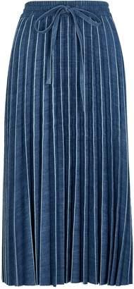 RED Valentino Blue pleated denim midi skirt