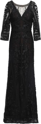 Marchesa Guipure Lace-paneled Embroidered Tulle Gown