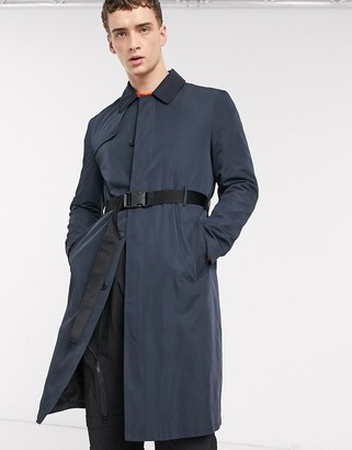ASOS DESIGN single breasted trench coat with belt in navy