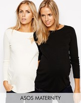 Asos Crew Neck Top with Long Sleeves 2 Pack