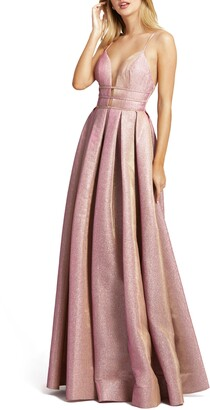 Mac Duggal Metallic Plunge Neck Pleated Ballgown