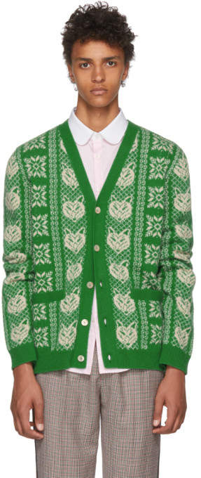 Gucci Green Wool Fox Cardigan