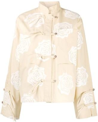Acne Studios Rose-Print Monk-Collar Jacket