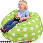 Oversized Bean Bag Chair in Chartreuse with White Polka Dots - Machine Washable Big Soft Comfort Cover with Memory Foam Filler - Cozy Lounger & Bed - Kids & Teens Love This Huge Sack - by Panda Sleep