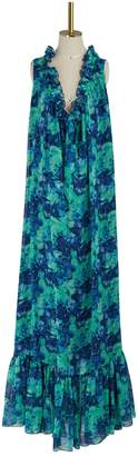 Lanvin Georgette silk printed long dress