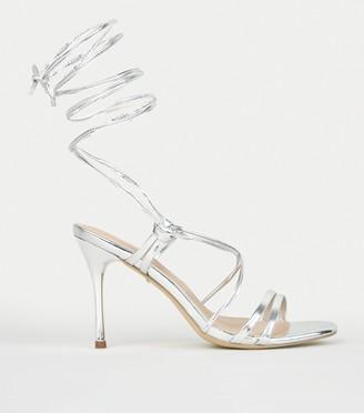 New Look Metallic Ankle Tie Stiletto Heels