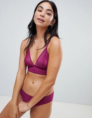 Sloggi Zero Lace longline bralette in purple