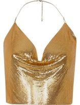 River Island Womens Gold tone chainmail halter neck top