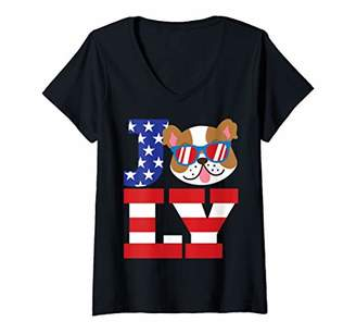 Womens July Bulldog Funny 4th Of July Independence Day Dog Gift V-Neck T-Shirt
