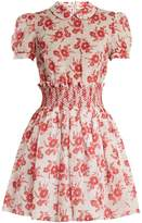 Miu Miu Floral-print smocked-waist mini dress