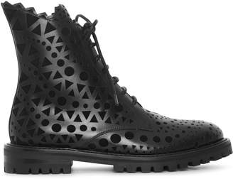 Alaia Black laser cut flat boots