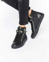 Juicy Couture Black Leather High Top Sneakers