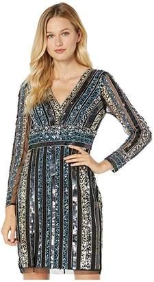 Adrianna Papell Stripe Beaded Sheath Dress