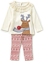 Mud Pie Baby Girls Newborn-18 Months Christmas Reindeer Applique Tunic and Printed Leggings Set