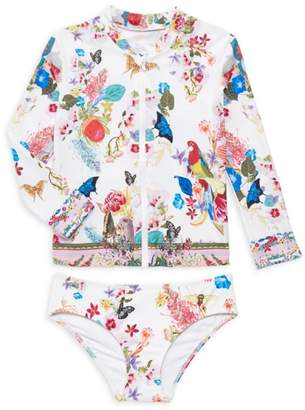 Camilla Little Girl's & Girl's Floral & Butterfly Print Rachguard Swimsuit Set