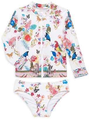Camilla Little Girl's & Girl's Floral & Butterfly Print Zip Jacket & Bottom Set
