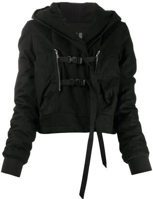 Rick Owens Buckled Hooded Jacket