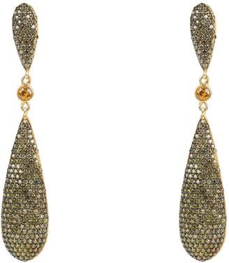 Latelita Coco Long Drop Earrings Peridot Green Cz