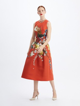 Oscar de la Renta Bouquet Faille Cocktail Dress