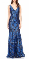 David Meister Abstract Sequin Design Fitted Evening Dress