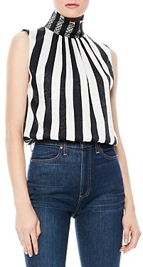 Alice + Olivia Trudy Sleeveless Striped Turtleneck Top