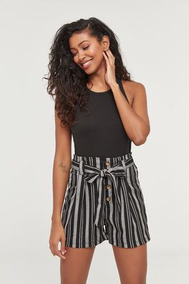 Ardene Striped Buttoned Paper Bag Shorts