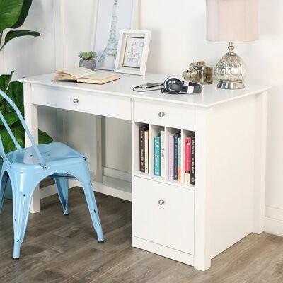 Clinton Computer Desk Beachcrest Home Color: White