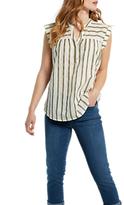 White Stuff Coastline Stripe Cotton Vest, Soft Khaki