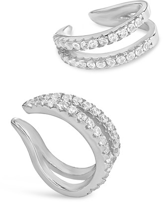 Sterling Forever Sterling Silver CZ V Ear Cuff - Set of 2