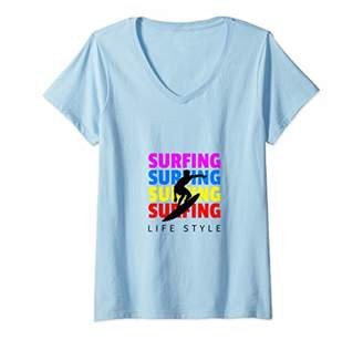 Womens FUN SUMMER SURFING LIFESTYLE SURFBOARD LOVER BEACH VACATION V-Neck T-Shirt
