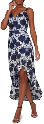 Chi Chi London Lucille Embroidered Lace High/Low Gown