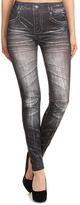 Gray Denim Printed Distressed Leggings
