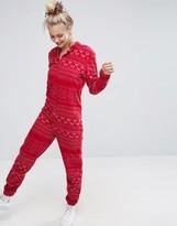 Asos Christmas Fairisle Onesie In Fleece