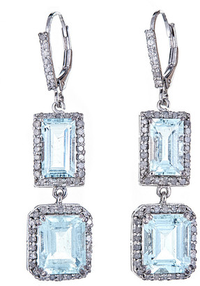 Forever Creations Usa Inc. Forever Creations Silver 11.12 Ct. Tw. Diamond & Aquamarine Drop Earrings
