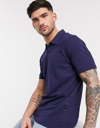 Selected organic cotton revere collar marl t-shirt in navy