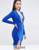 Club L Plunge Split Detail Bodycon Mini Dress