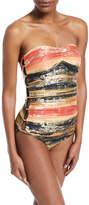 Carmen Marc Valvo Pacific Sunset Bandeau One-Piece Swimsuit with Metallic