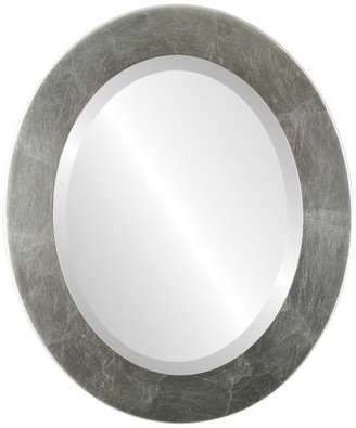 """The Oval And Round Mirror Store Cafe Framed Oval Mirror in Silver Leaf with Brown Antique, 16""""x20"""""""