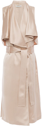 Halston Belted Layered Satin Wrap Dress