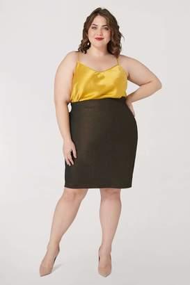 Marée Pour Toi Maree Pour Toi Foiled Scuba Skirt in Black/Gold Size 16