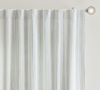 Pottery Barn Hawthorn Striped Cotton Rod Pocket Curtain - Charcoal