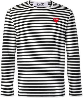 Comme des Garcons Heart Patch Striped Sweatshirt