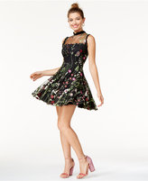 City Studios Juniors' Floral-Embroidered Fit & Flare Dress, A Macy's Exclusive Style