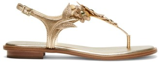 MICHAEL Michael Kors Flora Glitter Leather Thong Sandals