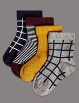 Marks and Spencer 4 Pairs of Cotton Rich StaySoft Socks (0-24 Months)