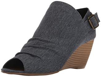 Sugar Women's Krennzy Open Toe Canvas Stacked Wedge with Buckle