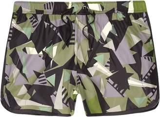 River Island Mens Green camo shard print runner swim shorts