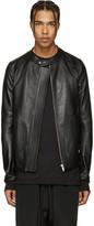 Rick Owens Black Leather Panelled Jacket