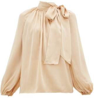 Zimmermann Super Eight Pussy-bow Silk-charmeuse Blouse - Womens - Beige