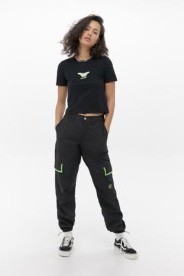 Santa Cruz Nylon Crinkle Skate Trousers - Black UK 6 at Urban Outfitters